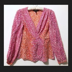 BCBG Max Azria Top Silk V Neck Heart Print Shirt